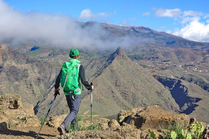 Hiker with mountain panorama in Tenerife