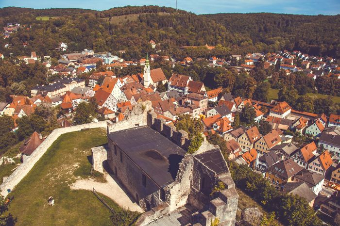 Panoramic view of an old town at the Naturpark Altmühltal