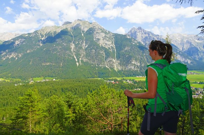 Hiker enjoys the fantastic view of Leutasch