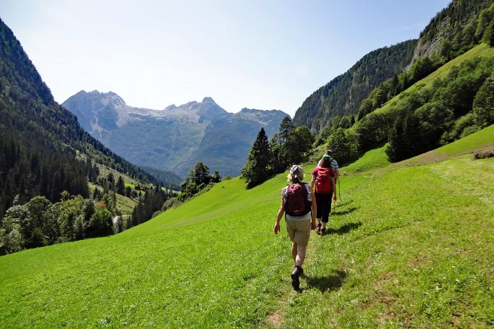 Hikers in the Chiemgauer alps