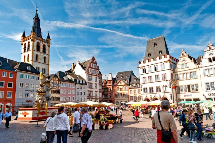 Market square of Trier at the Moselle and Eifel Trail