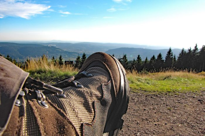 Hiking boot with beautiful view