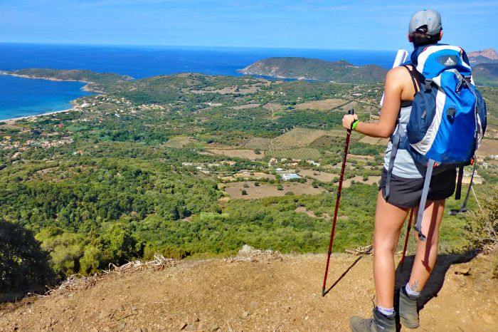 Individual mountain hiking with views to the gulf of Chiuni