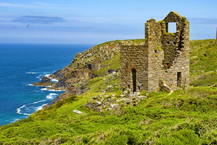 Historic ruins on the hiking trail at the headland of St. Just