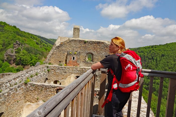Hiker on the castle ruin of Aggstein in the Wachau