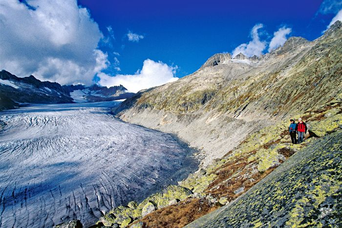 Hikers admire the Aletsch glacier