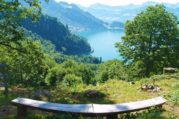 Hiking break with view to Lake Lucerne