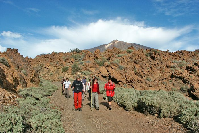 Hiking in a group on the Canary islands