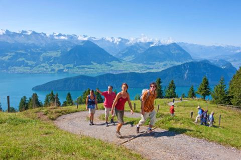 Hiking with view to Lake Lucerne