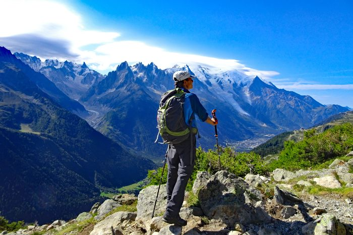 Hiking with view to Mont Blanc
