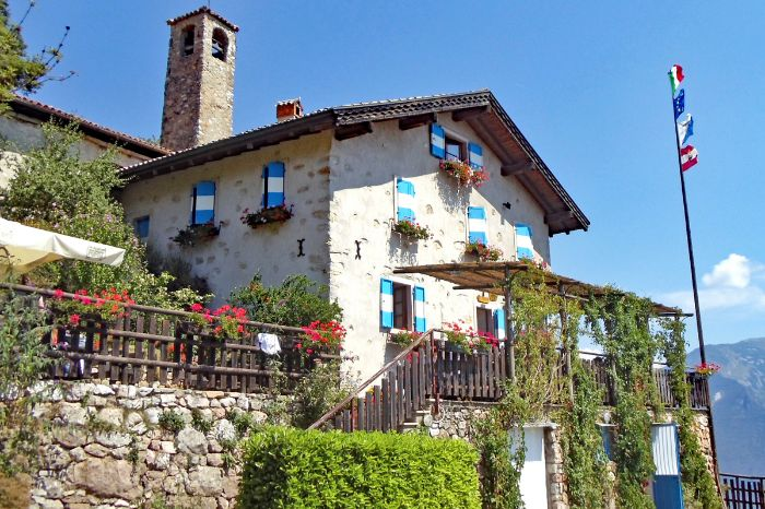 Traditional inn for hikers along the route from Merano to lake Garda