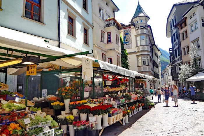 Colourful market in the streets of Bolzano