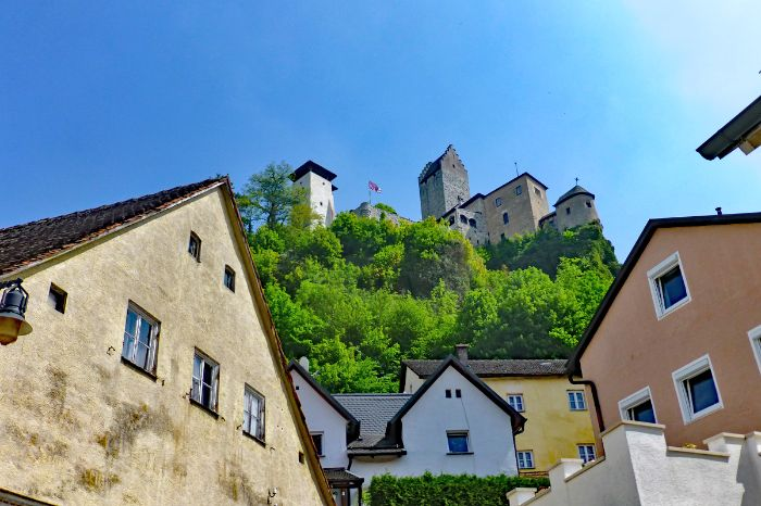 View to a castle at the hiking tour Altmühltal