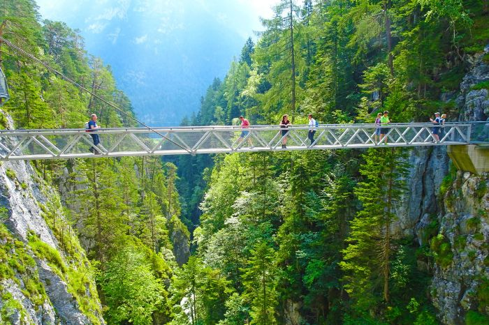 Breathtaking panorama bridge in Leutasch ravine