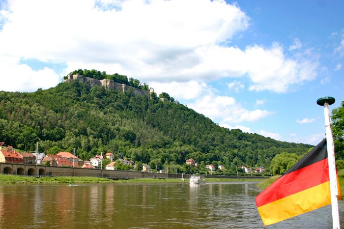 Boat trip at the Elbe with view to the Koenigstein