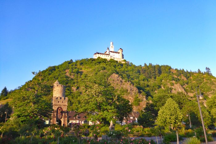 View onto castle Marksburg in Braubach