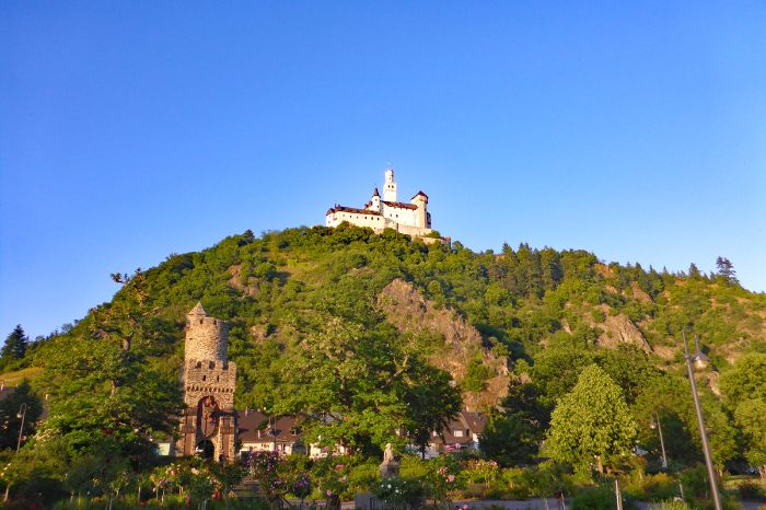 The castle Marksburg in Braubach on the rhine walking tour