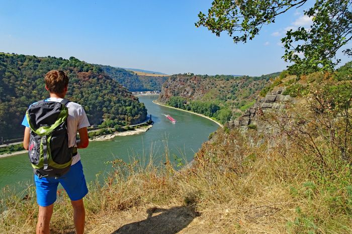 Hiker with view onto the loreley rock