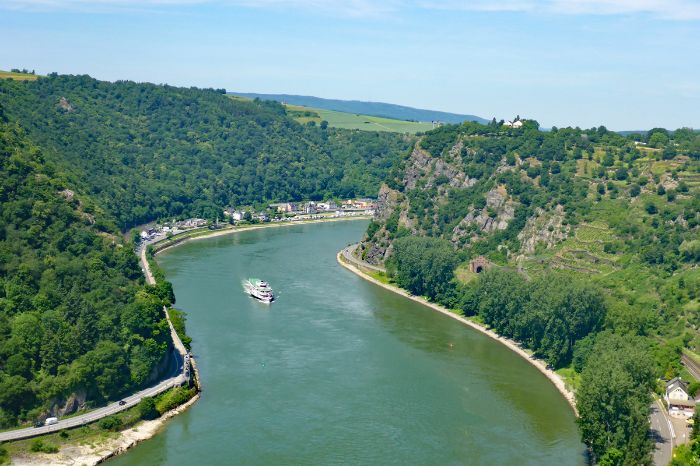 View onto the Rhine and the loreley rock