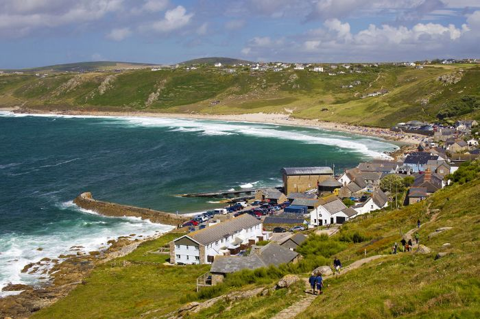South West Coastal hiking path descends to Sennen Cove