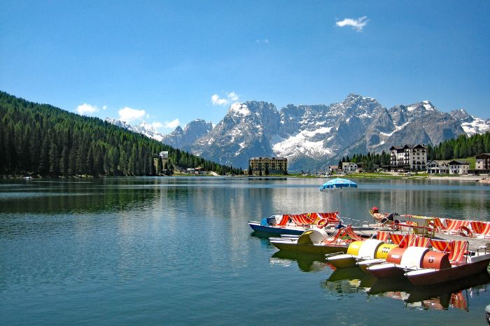 Panoramic view onto mountains and the lake misurina