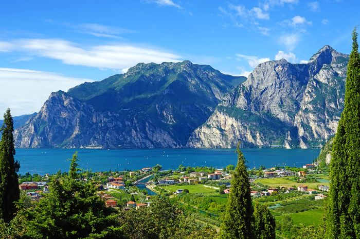 Beautiful panoramic view while hiking on lake garda