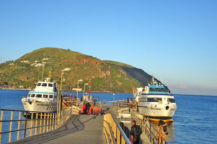 Traditional ferry boats on the Aeolian islands