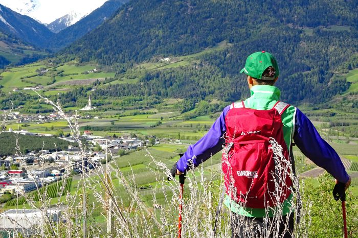 Ortler scenery in Vinschgau valley at Via Claudia hiking trail