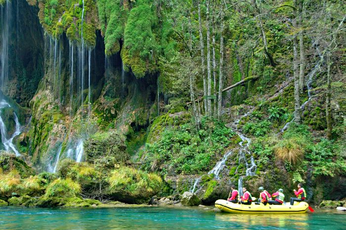 Boat tour through the green woods of Montenegro