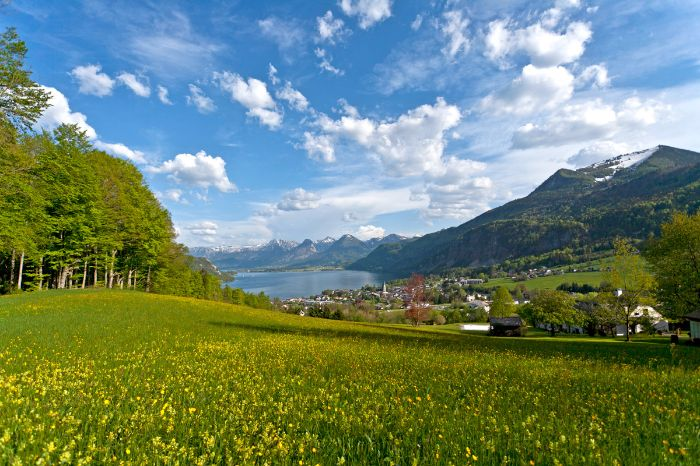 Stunning panoramic view high above lake Wolfgangsee