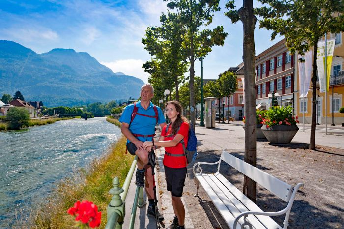Hiker at the promenade in Bad Ischl