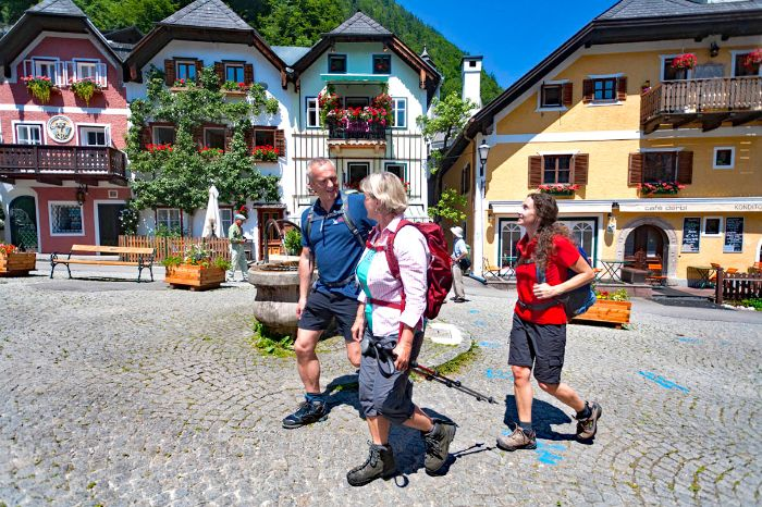Group of hikers in the World Heritage village Hallstatt