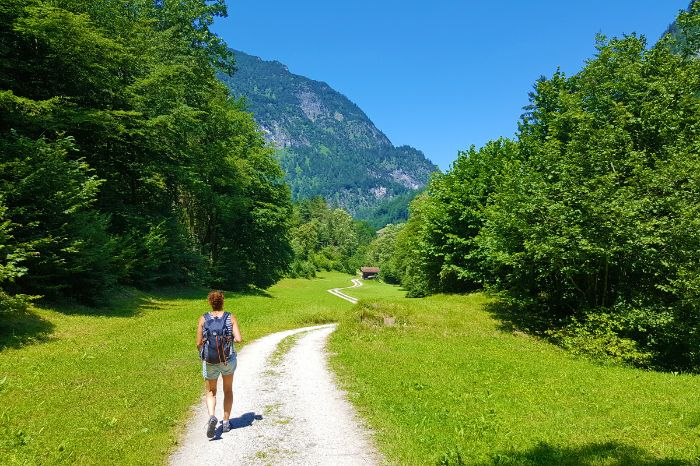 Hiker at the Pilgrim Trail in Salzburg