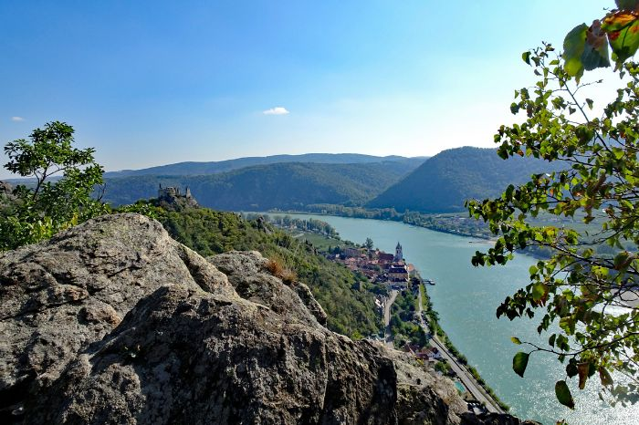 View to the ruins of castle Dürnstein on the World Heritage Trail Wachau